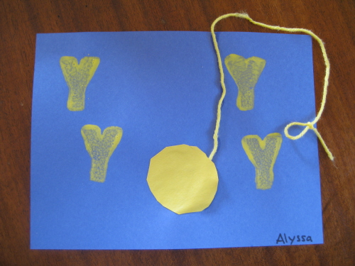 Letter Y Activity.Letter Yy Ceres Childcare Preschool